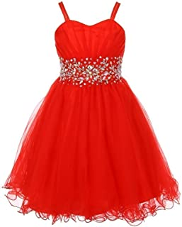 0918a7db653 Big Girls Red Stone Encrusted Pleated Tulle Junior Bridesmaid Dress 8-16