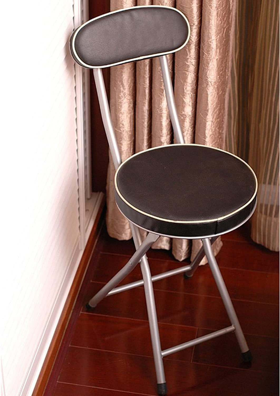 A-Fort Backrest Stool Folding Chair Small Round Chair Portable Leisure Computer Chair Office Chair (color   Black)