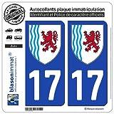 blasonimmat 2 Autocollants Plaque immatriculation Auto 17 Nouvelle-Aquitaine - Logotype