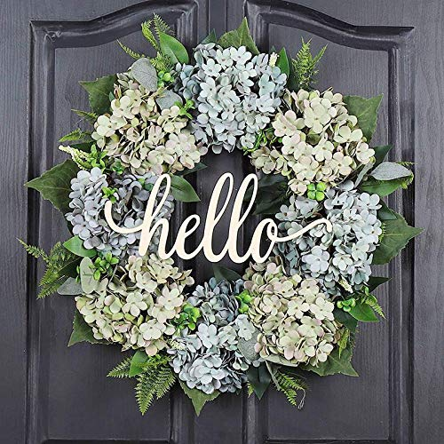 QUNWREATH Handmade Floral 19 inchblue Green Hydrangea Wreath Series Wreath,Housewarming Wreaths, Party Wreaths, Including Heavy Gift Boxes,Free Hooks,Everyday Wreath,QUNWREATH94