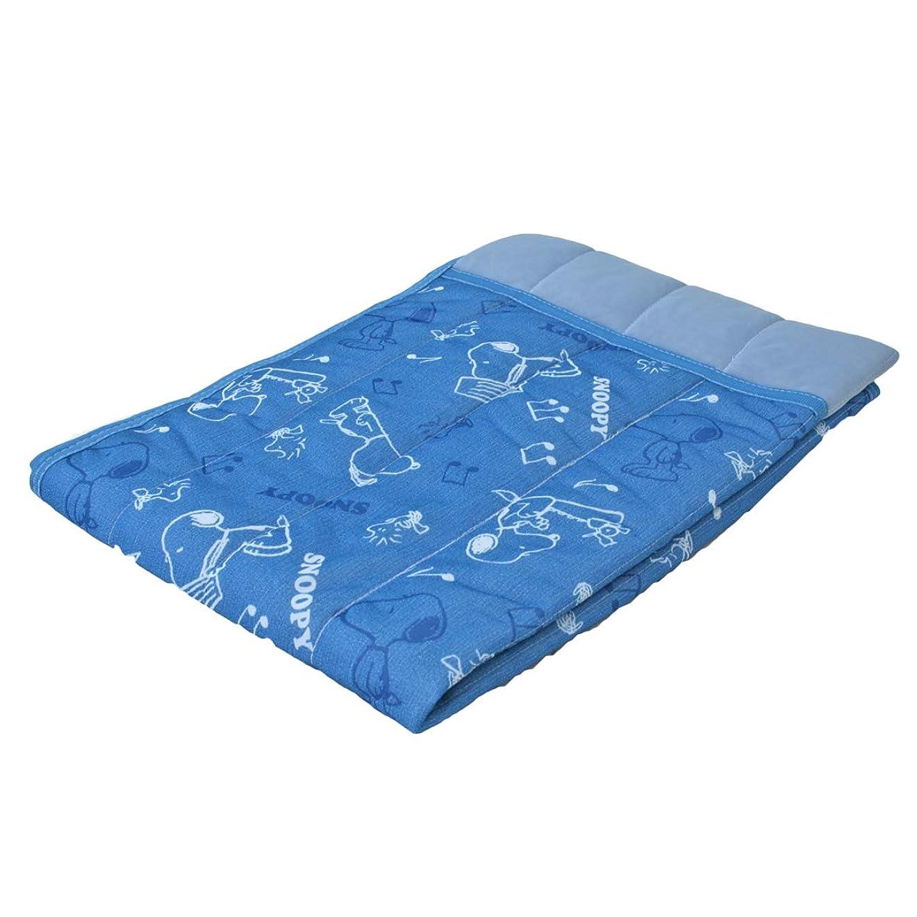 山岳解読するパズル冷感 キルトケット スヌーピー SNOOPY (ジュニアサイズ 100×140cm,ブルー)