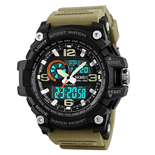 SKMEI Analogue Digital Black Dial Military Series Khaki Strap Men's Sports Watch