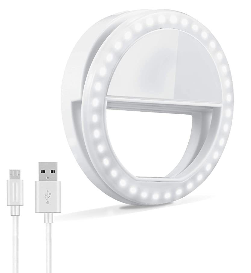 Selfie Ring Light, Oternal Rechargeable Portable Clip-on Selfie Fill Light with 36 LED for iPhone Android Smart Phone Photography, Camera Video, Girl Makes up (White)