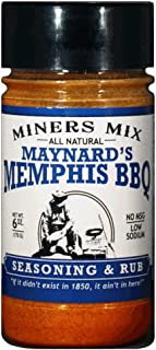 Miners Mix Maynards Memphis Championship BBQ Rub. Big Bold Flavor For Low N Slow Smoking of Spare Ribs, Baby Backs, Butts, Pulled Pork, Brisket, or Beef. No MSG, Low Salt, All Natural 6 oz Jar