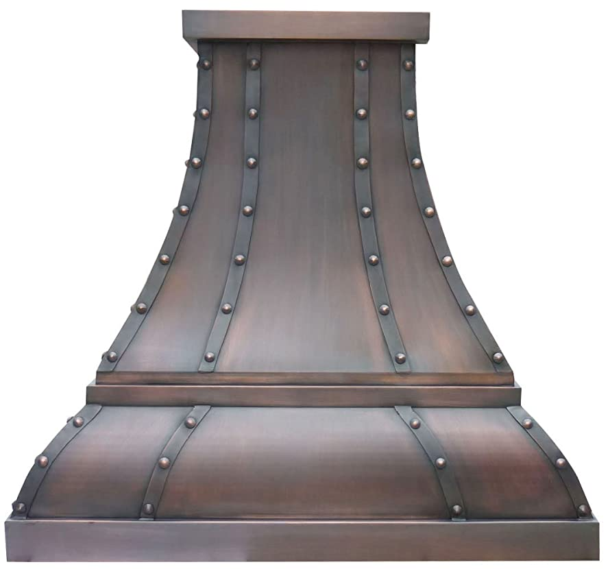 Sinda H1STR Copper Vent Hood with Decorative Straps, Rivet AND Trim Design Includes Stainless Steel Range Hood Liner and Internal Powerful Motor Fan