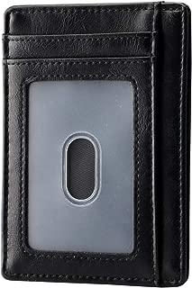 Apsung Slim Minimalist Front Pocket RFID Blocking Leather Wallets for Men Women (Black)