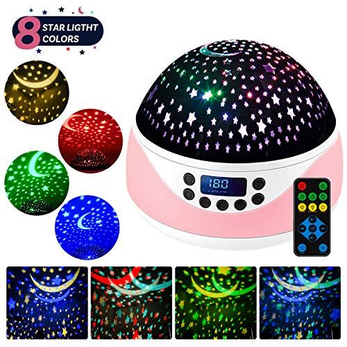 LED Sternenhimmel Projektor Lampe mit Fernbedienung,Shayson Baby Musik Nachtlicht mit Timer,360°Drehung,4 LED-Lampen 8 RGB Lichter & Warmweißlicht für Kinder-Rosa