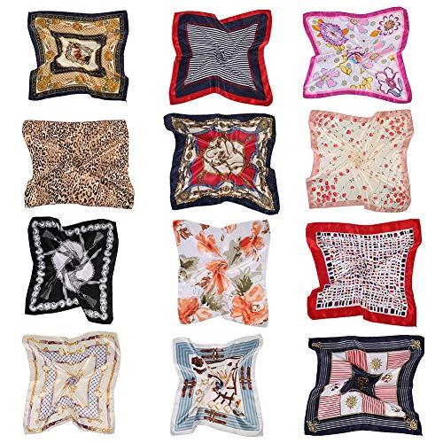 Opopark 12 Piezas de Pañuelo de Seda Cuadrado para Mujer, Pañuelo en la Cabeza, Bufanda, Pañuelos, Conjunto de Pañuelos de Verano, 50 * 50 cm