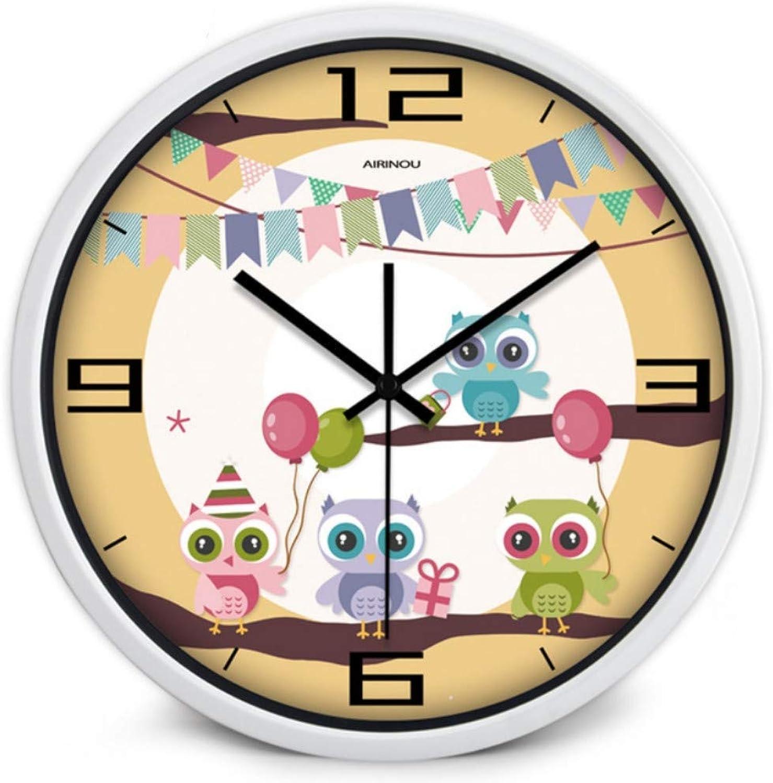 diseñador en linea Mzdpp Dibujos Animaños Happy Happy Happy Owl Style Moderno Movimiento Silencioso Reloj De Parojo Vidrio Y Metal Habitación De Los Niños Parque Infantil O Jardín De Infantes -10 Pulgadas -Zgh0069  tienda en linea