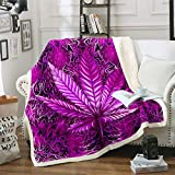 Cannabis Leaves Plush Blankets and Throws Marijuana Leaf Throw Blanket Psychedelic Marijuana Weed Sherpa Blanket Trippy Hemp Fuzzy Blanket for Bed Sofa Couch Red for Women Adults,Purple 50 x 60 Inch