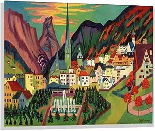 Kunst für Alle Image sur Verre: Ernst-Ludwig Kirchner Davos mit Kirche Davos im Sommer, Image de Haute qualité, Impression...