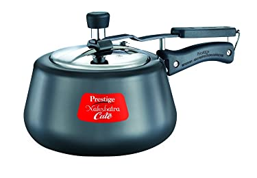 Prestige Nakshatra Cute Hard Anodized Aluminium Pressure Cooker, 3 Litres, Charcoal Black