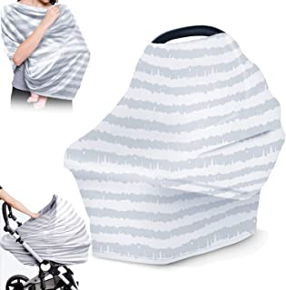 Nursing Cover for Breastfeeding-Carseat Canopy for Babies,Multi Use Baby Car Seat Covers, Infant Cover for Shopping Cart, High Chair and Stroller,Baby Shower Gifts for Boys and Girls