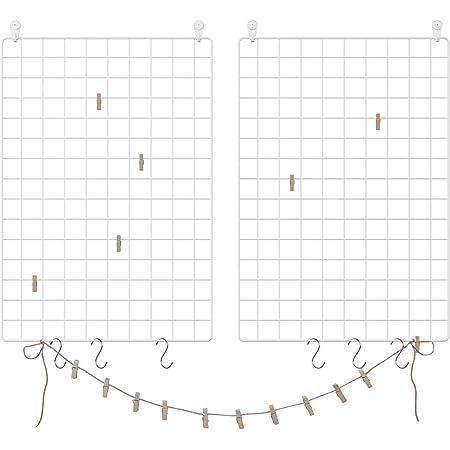 SONGMICS LPP02W-Pared de Fotos de Malla de Alambre, 2 Unidades, decoración, Multifuncional, Rejilla de Pared, DIY, con Ganchos en S, Pinzas y Cuerda de cáñamo, Color Blanco, 69 x 49 x 35 cm