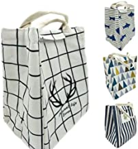 Reusable Lunch Bags Printed Canvas Fabric with Insulated Waterproof Aluminum Foil, Lunch Box for Women, Kids, Students,1PC