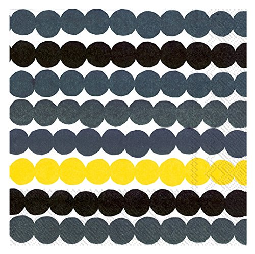 Ideal Home Range Marimekko - Tovaglioli da cocktail in carta rasymatto, 20 punti, 3 veli Giallo