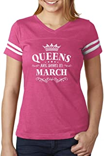 Birthday Gift for Women - Queens are Born in March Women Football Jersey T-Shirt