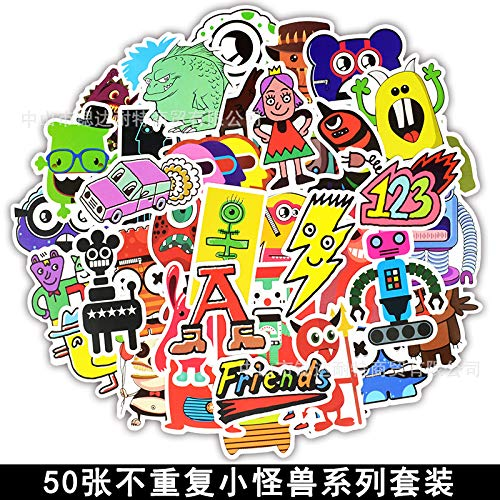 YCYY 50 Little Monster Cartoon Doodle Elements Car Sticker Box Refrigerador Guitarra Scooter Etiqueta de la computadora