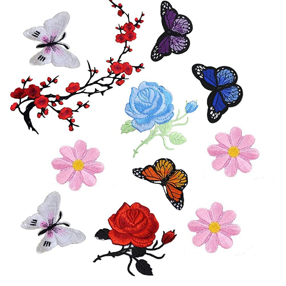 Buytra 11 Pieces Flowers Butterfly Iron on Sew on Patches Embroidery Applique Patches for Jeans, Jackets, Clothing, Bags