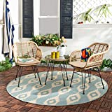 Barton 3pcs Outdoor Bistro Chat Set Patio Conversation Wicker Chairs Glass Table with Seat Cushions, Beige