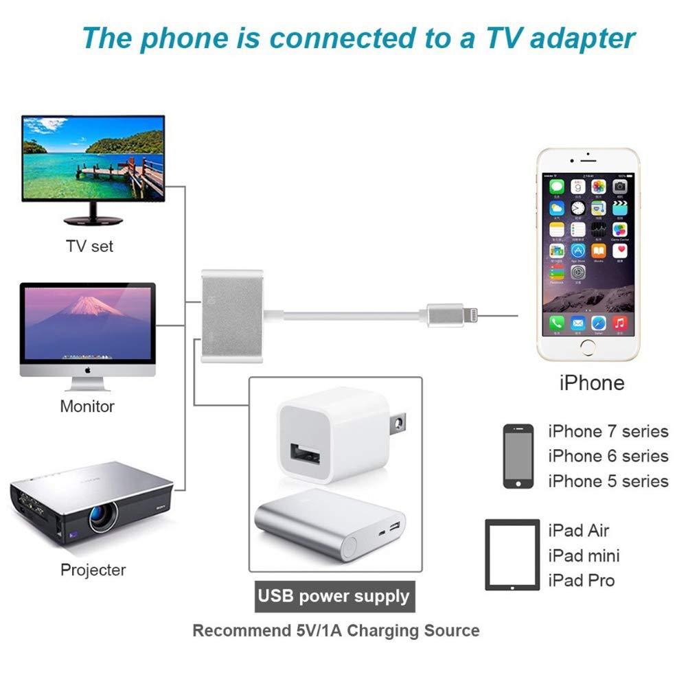 YYQX-4X A su Vez, i-Phone Madre HDMI con convertidor de Pantalla, Apple X 8plus teléfono móvil Adaptador de vídeo portátil iPad Carga línea de Alta definición,Negro: Amazon.es: Hogar