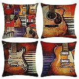 Gspirit 4 Pack Guitarra Bajo Algodón Lino Throw Pillow Case Funda de Almohada para Cojín 45x45 cm