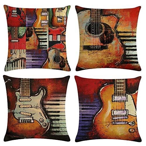 Freeas Kissenbezug 45 x 45 cm, Baumwolle Leinen Kissenhülle Taille Wurf Kopfkissenbezug für Zuhause und Sofa, Schlafzimmer Dekoration, 4 Stück (Retro Gitarre)