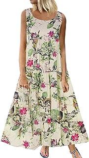 Womens Summer Floral Maxi Dress V Neck Adjustable Spaghetti Strap Beach Dresses
