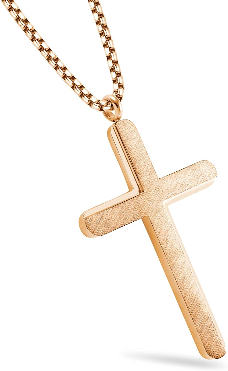 555Jewelry Cross Necklace for Men Women Brushed Stainless Steel Pendant, 18-24