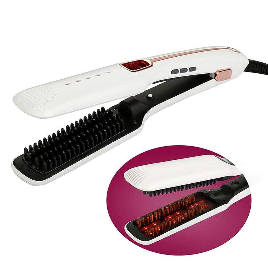 国フィクション操作可能ストレート カール アイロン 赤外線スチームストレートヘアブラシ、LCDディスプレイデザインの櫛を矯正する髪、赤外線フラットアイロン、調節可能な温度 (色 : 白, サイズ : Free size)
