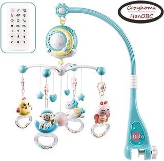 Mobile pour lit de bébé musical avec lumières et musique, support, lit de bébé musical rotatif avec projecteur, hochets su...