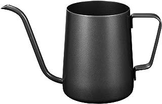 Kslong コーヒーポットコーヒー ケトルステンレス 細口ハンドパンチポットドリップih対応長い口ポット ファイン口ポット グースネックポット (ブラック, 350ml)