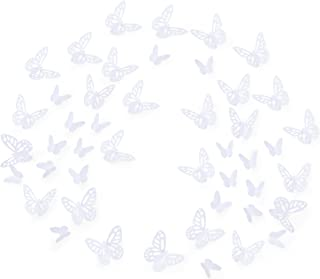 Luxbon 100Pcs 3D Vivid Cardboard Paper Hollow Butterfly Matt Effect Wall Stickers Art Crafts Decals Butterflies Home DIY Improvement Decor Mural White