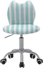 DM Furniture Kids Desk Chair Adjustable Height Swivel Chair Cute Cat Chirldren Study Chair Living Room Computer Chair (Blue&White)