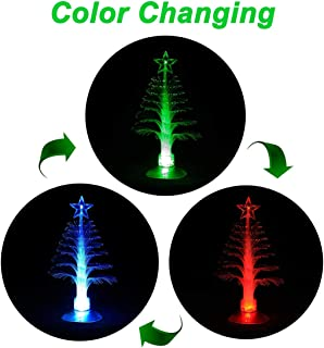 ANGROC USB Powered LED 4.75 INCH Mini 7 Colors Fiber Optic Christmas Tree with Top Star Light (Color Changing)