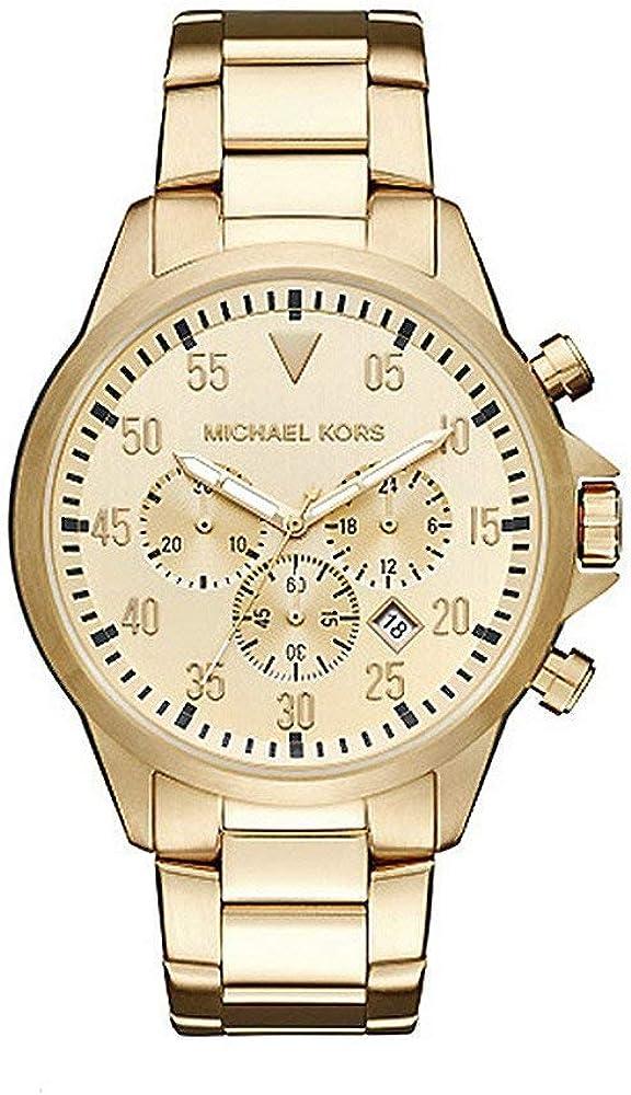 Michael kors orologio,cronografo per uomo,in acciaio inossidabile trattamento ip oro MK8491