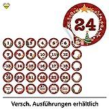 24 Adventskalender-Zahlen + 11 Motive (Aufkleber Etiketten Sticker) | Romantic Snow Dekor | Schrift:...