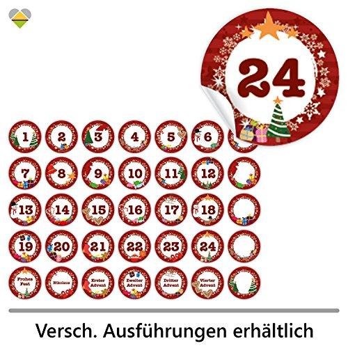 24 Adventskalender-Zahlen + 11 Motive (Aufkleber Etiketten Sticker) | Romantic Snow Dekor | Schrift: Butterkeks | Rund | S » Ø 24 mm | Bordeaux-Rot | FA0013-06