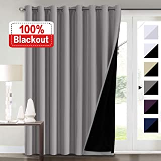 100% Blackout Grey Curtains for Bedroom, Extra Wide Blackout Curtains 100 x 84 for Patio Doors, Double Layer Lined Drapes for Double Window, Thermal Insulated Grey Curtains/Draperis