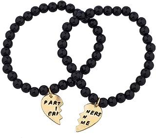 Black Beaded Partners in Crime BFF Best Friends Matching Bracelet Set.