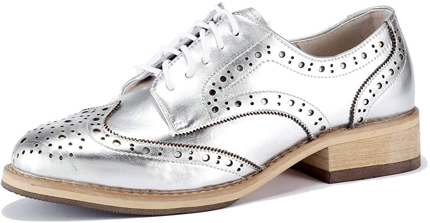 U-lite Year-end gift Women's Perforated Popular brand Lace-up Wingtip V Leather Flat Oxfords