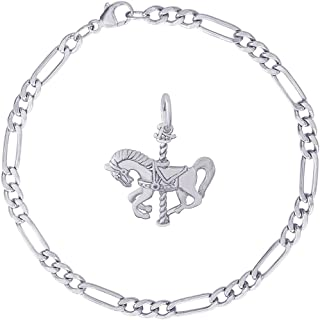 Rembrandt Charms Sterling Silver Carousel Horse Charm Bracelet, 7