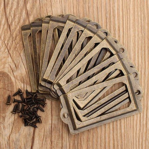 Farway- 12pz Portaetichette per ufficio, Ufficio Archivio Cassetto porta-etichette, Etichetta di Guaina di Protezione, Libreria Tag,Vintage,Bronzo