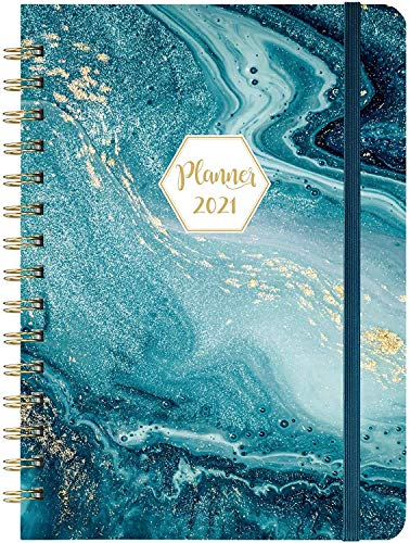 """2021 Planner - Weekly & Monthly Planner with Tabs, 6.3"""" x 8.4"""", Jan. - Dec. 2021, Hardcover with Back Pocket + Thick Paper + Banded, Twin-Wire Binding - Blue"""