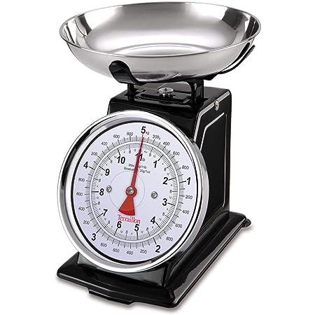 Terraillon Balance de Cuisine, Tare Manuelle, Grand Cadran, Portée 5 kg, Tradition 500, Noir