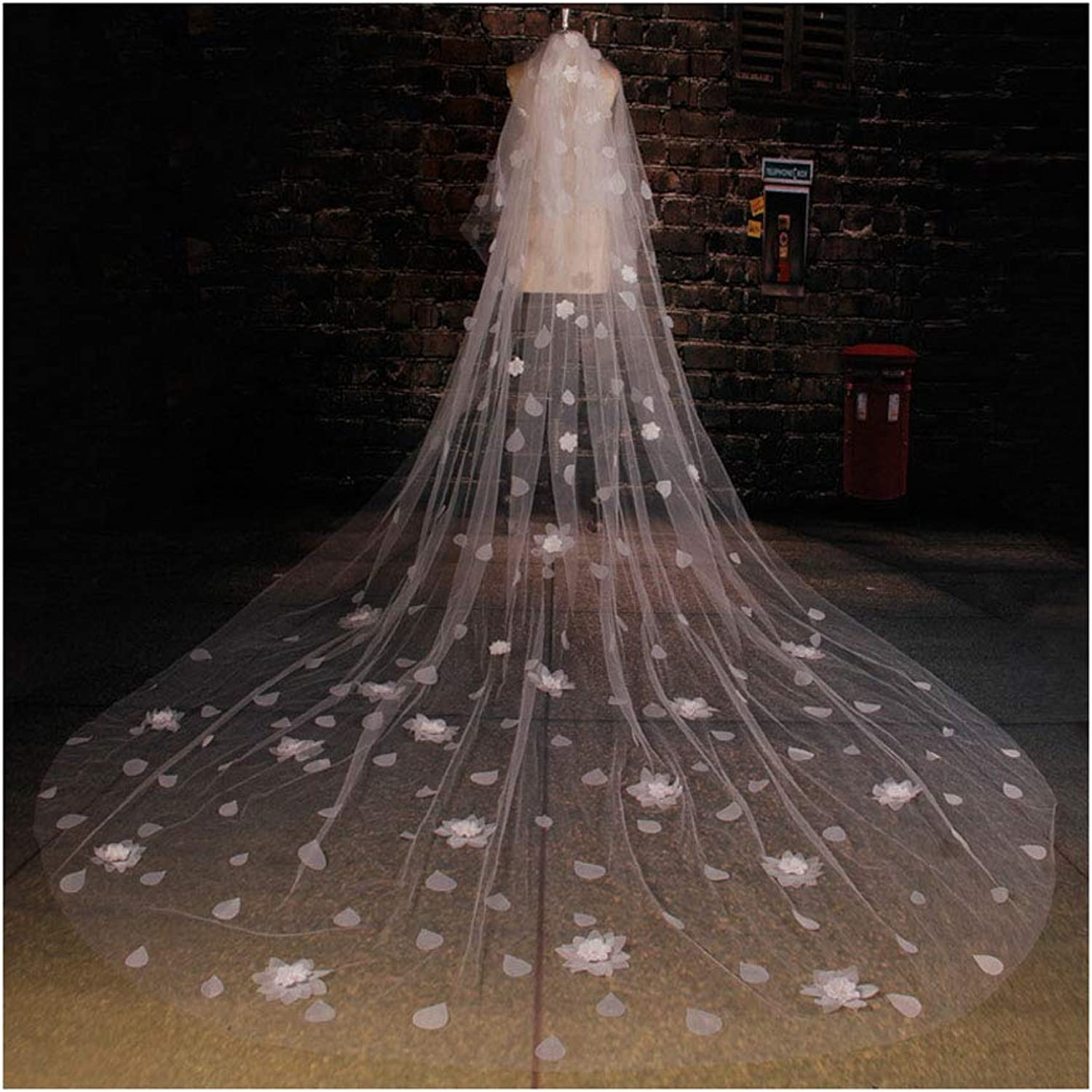 Fenhuavip 2 Tier Long Cathedral Wedding Veils 5M 10M Tulle 3D Flowers Veils with Comb