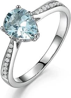 Unique Women's Jewelry Solid 14K White Gold Natural Aquamarine Diamond Engagement Promise Wedding Ring Set