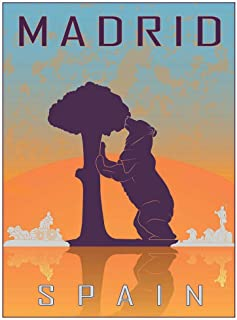 Wee Blue Coo Travel Tourism Madrid Spain Bear Madrono Tree City Symbol Vector Unframed Wall Art Print Poster Home Decor Premium
