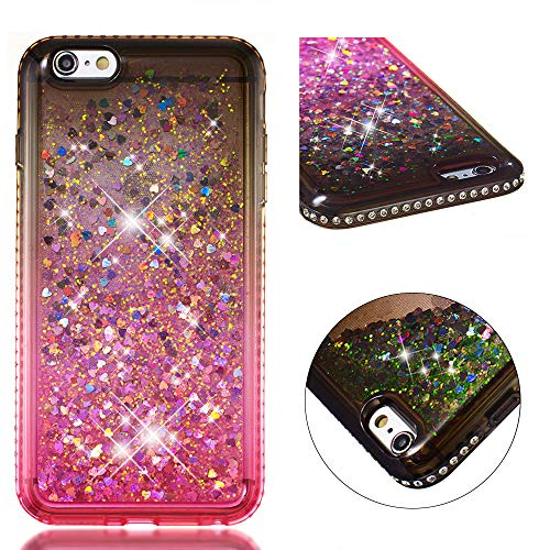 FroFine - Carcasa de Silicona para iPhone 5S, diseño 3D líquido, Carcasa para teléfono móvil, diseño de corazón con Purpurina, Color Transparente, Compatible con iPhone 6 Plus iPhone 6