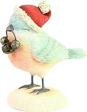 Enesco Heart Jingle Bell Christmas Bird Figurine, 2.36 Inch, Multicolor